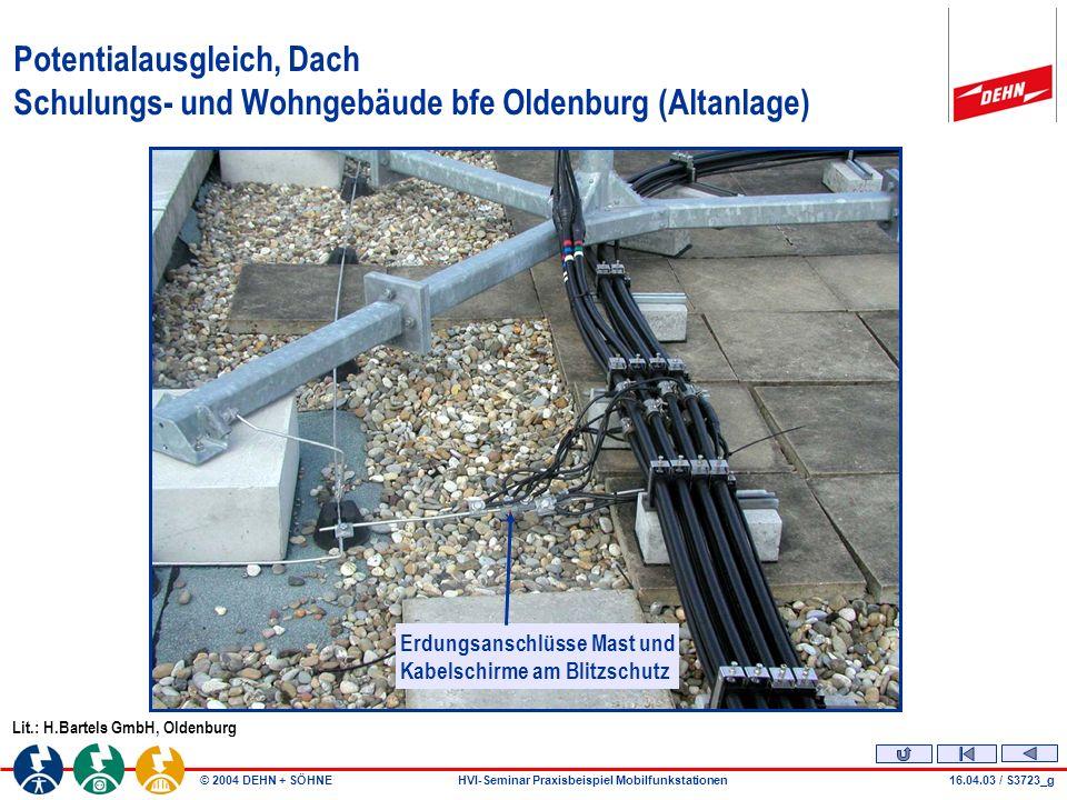 © 2004 DEHN + SÖHNEHVI-Seminar Praxisbeispiel Mobilfunkstationen Vorhandene Installation Balkon Antenne Dachaufbau Kabelkanal 24.03.04 / S3742_k - KPM