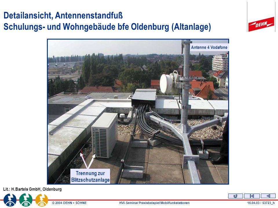 © 2004 DEHN + SÖHNEHVI-Seminar Praxisbeispiel Mobilfunkstationen16.04.03 / S3723_k Problem Näherung Schulungs- und Wohngebäude bfe Oldenburg (Altanlage) Lit.: H.Bartels GmbH, Oldenburg Trennung nicht beachtet