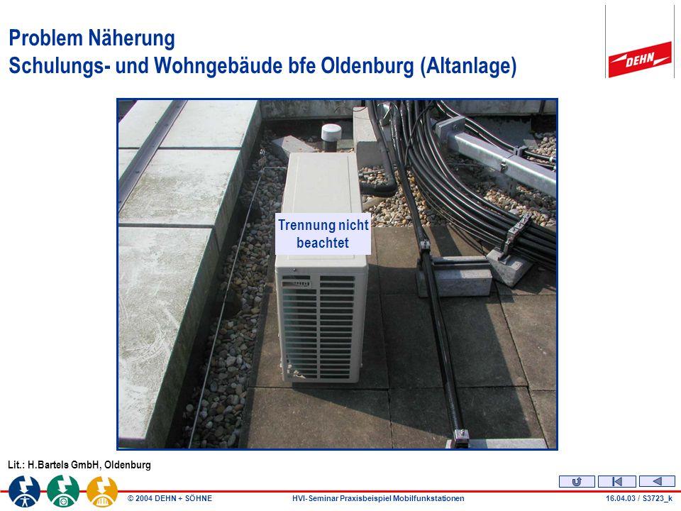 © 2004 DEHN + SÖHNEHVI-Seminar Praxisbeispiel Mobilfunkstationen16.04.03 / S3723_o Detailansicht Kabelwanne Schulungs- und Wohngebäude bfe Oldenburg (Altanlage) Lit.: H.Bartels GmbH, Oldenburg Kabelschacht zur BTS-Vodafone