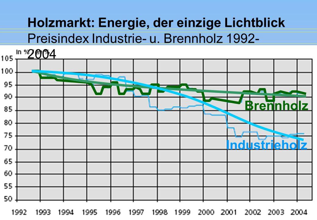 Holzmarkt: Energie, der einzige Lichtblick Preisindex Industrie- u. Brennholz 1992- 2004 Brennholz Industrieholz