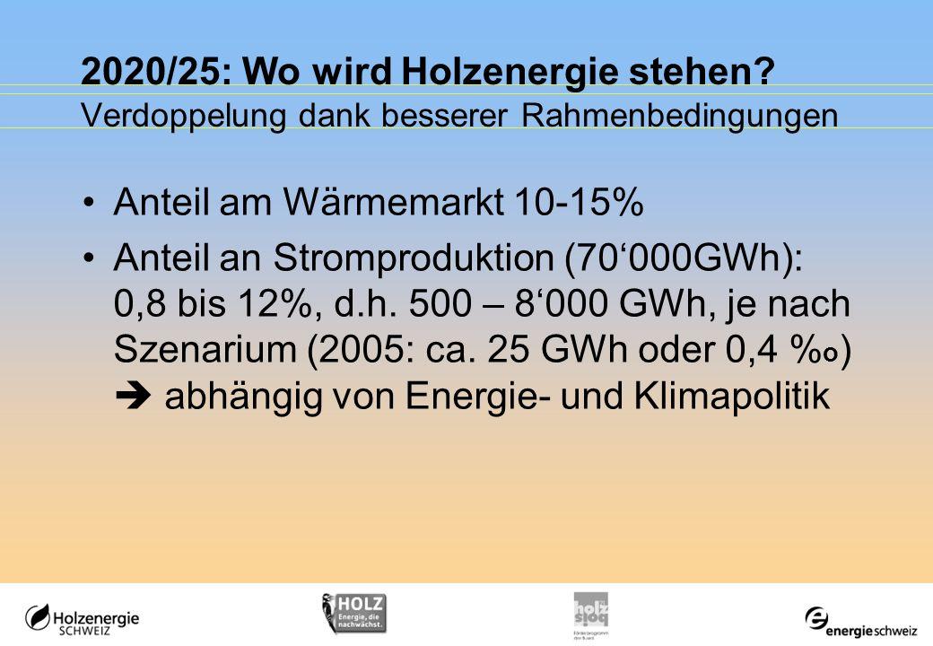 2020/25: Wo wird Holzenergie stehen? Verdoppelung dank besserer Rahmenbedingungen Anteil am Wärmemarkt 10-15% Anteil an Stromproduktion (70000GWh): 0,