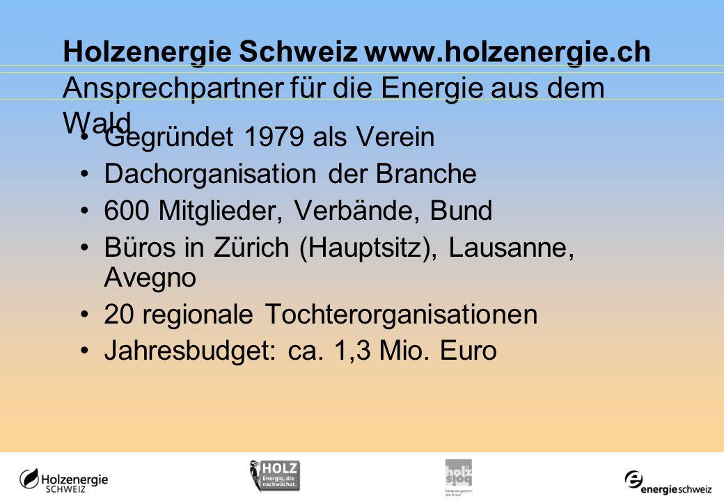Holzenergie Schweiz www.holzenergie.ch Ansprechpartner für die Energie aus dem Wald Gegründet 1979 als Verein Dachorganisation der Branche 600 Mitglie