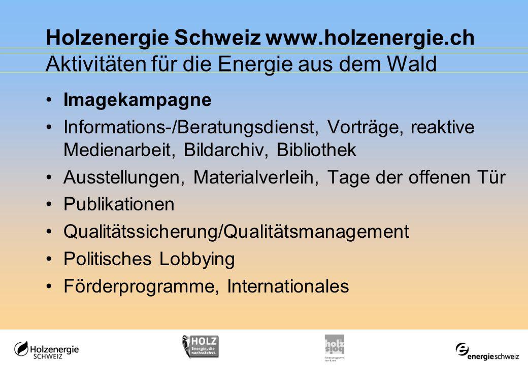 Holzenergie Schweiz www.holzenergie.ch Aktivitäten für die Energie aus dem Wald Imagekampagne Informations-/Beratungsdienst, Vorträge, reaktive Medien