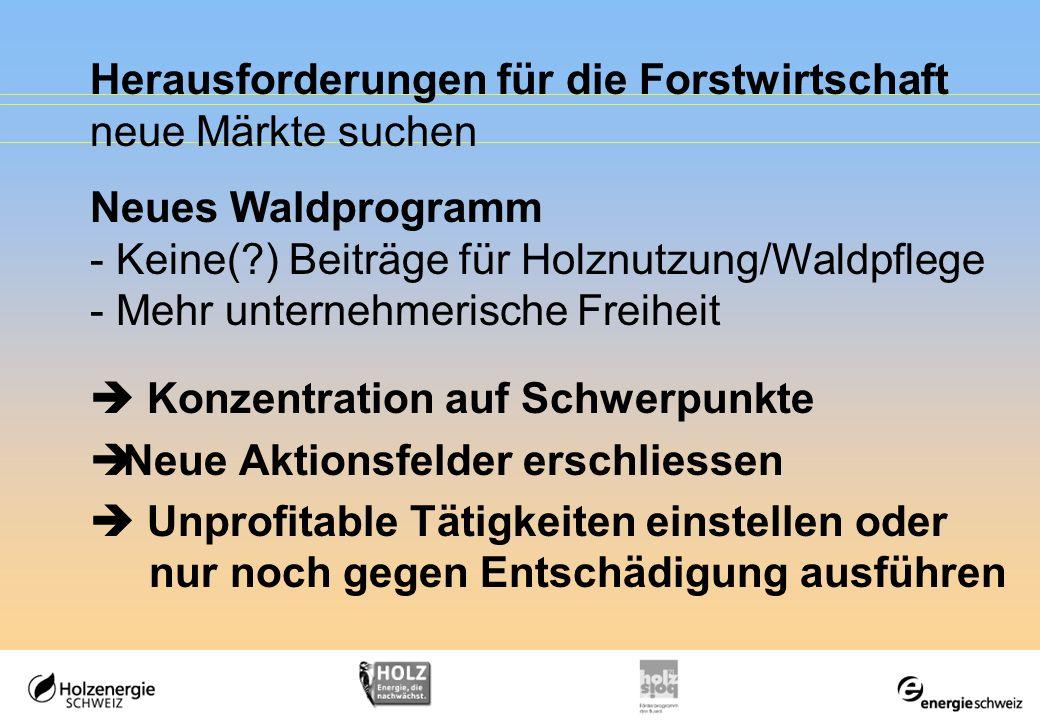 Herausforderungen für die Forstwirtschaft neue Märkte suchen Neues Waldprogramm - Keine(?) Beiträge für Holznutzung/Waldpflege - Mehr unternehmerische