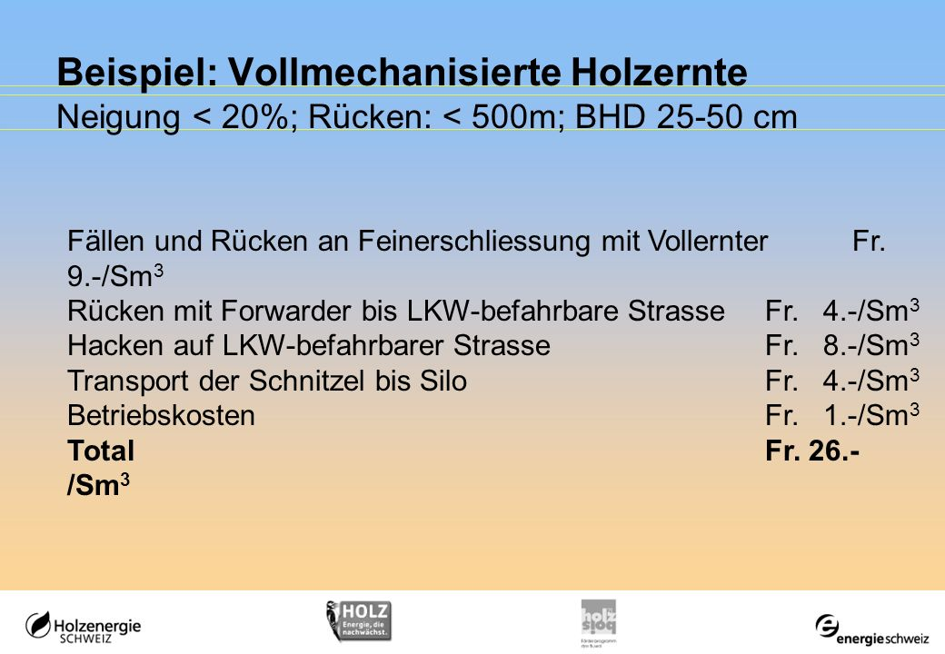 Beispiel: Vollmechanisierte Holzernte Neigung < 20%; Rücken: < 500m; BHD 25-50 cm Fällen und Rücken an Feinerschliessung mit VollernterFr. 9.-/Sm 3 Rü