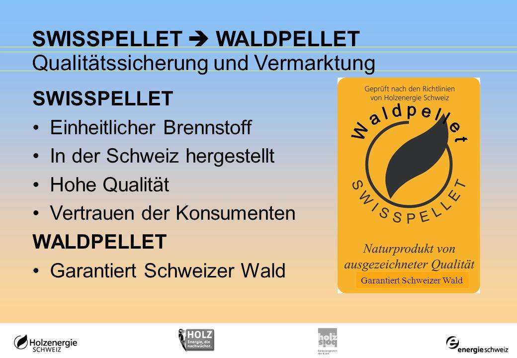 SWISSPELLET WALDPELLET Qualitätssicherung und Vermarktung SWISSPELLET Einheitlicher Brennstoff In der Schweiz hergestellt Hohe Qualität Vertrauen der