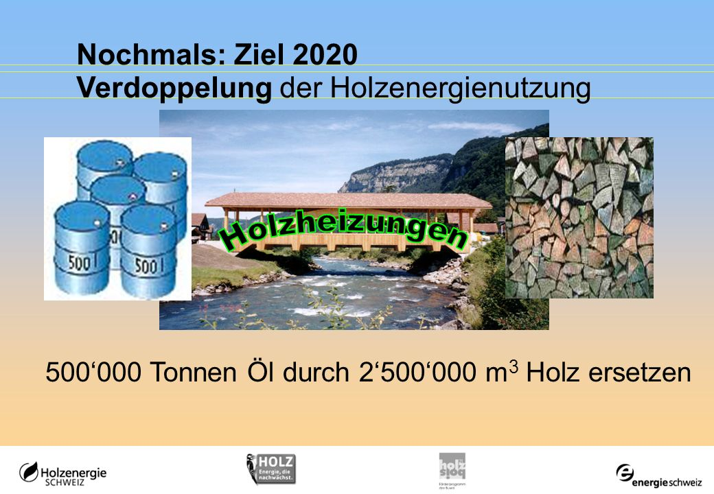 Nochmals: Ziel 2020 Verdoppelung der Holzenergienutzung 500000 Tonnen Öl durch 2500000 m 3 Holz ersetzen