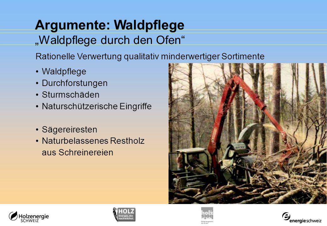 Argumente: Waldpflege Waldpflege durch den Ofen Rationelle Verwertung qualitativ minderwertiger Sortimente Waldpflege Durchforstungen Sturmschäden Nat