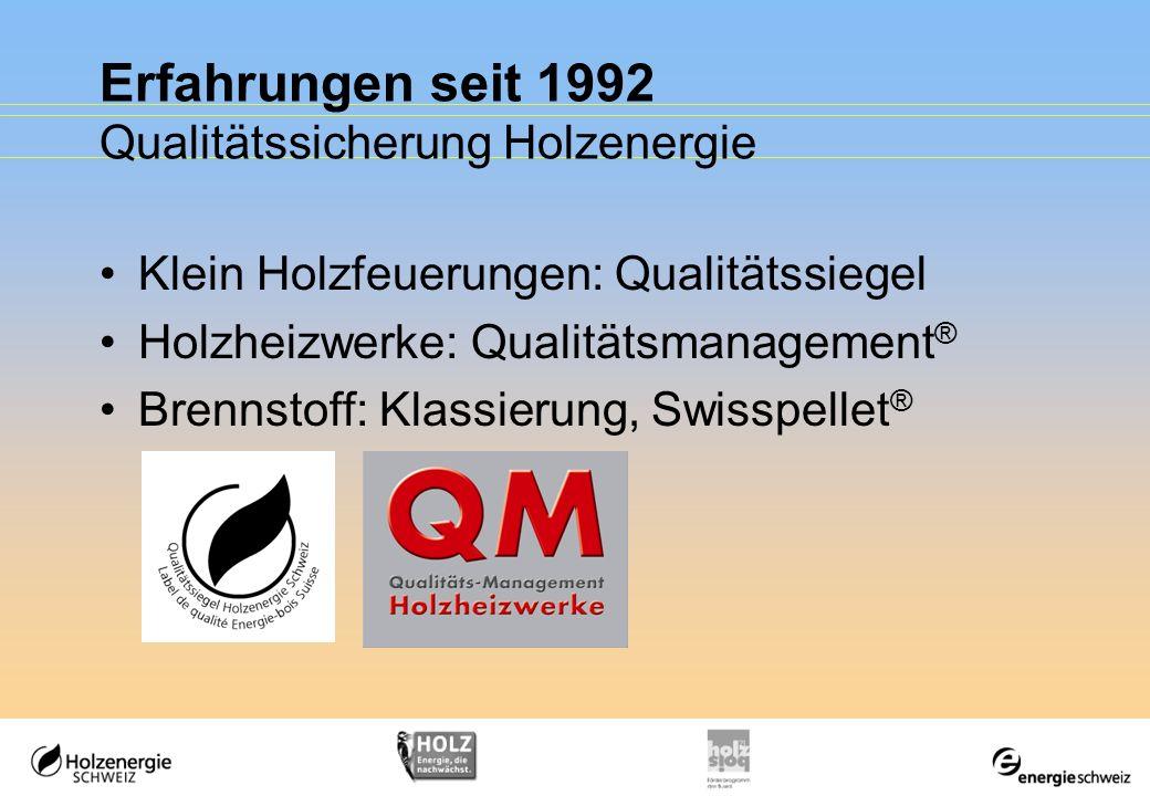 Erfahrungen seit 1992 Qualitätssicherung Holzenergie Klein Holzfeuerungen: Qualitätssiegel Holzheizwerke: Qualitätsmanagement ® Brennstoff: Klassierun