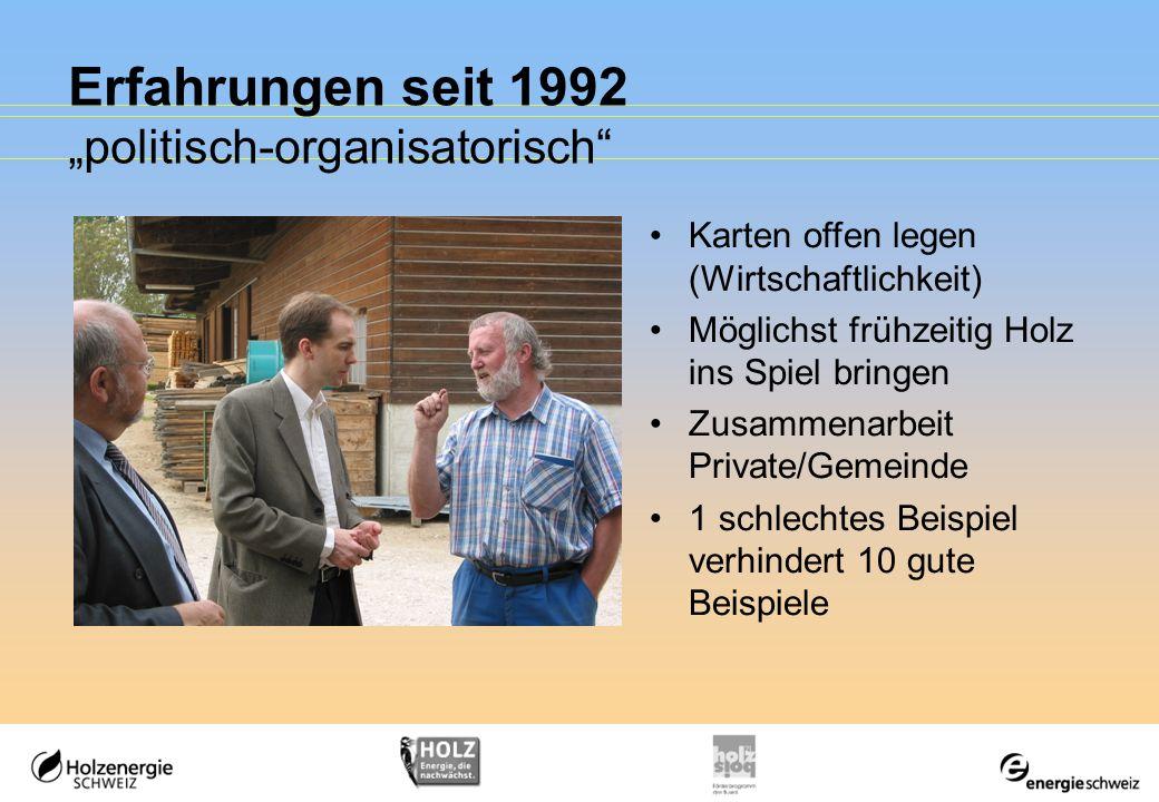 Erfahrungen seit 1992 politisch-organisatorisch Karten offen legen (Wirtschaftlichkeit) Möglichst frühzeitig Holz ins Spiel bringen Zusammenarbeit Pri