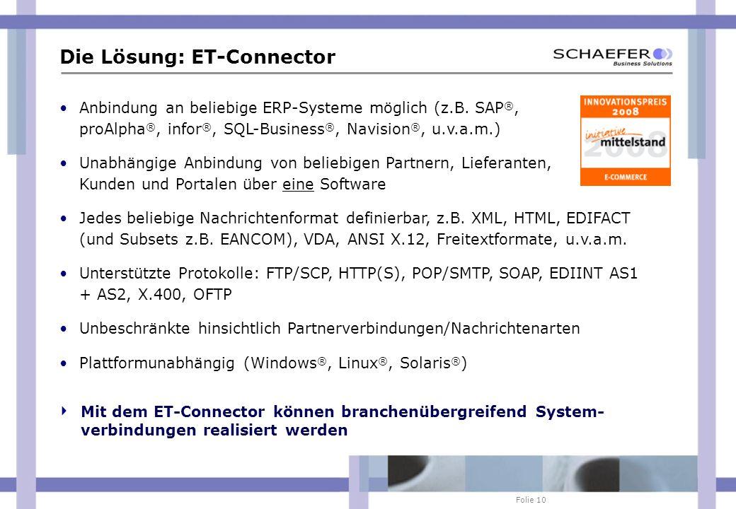 Folie 10 Die Lösung: ET-Connector Anbindung an beliebige ERP-Systeme möglich (z.B. SAP ®, proAlpha ®, infor ®, SQL-Business ®, Navision ®, u.v.a.m.) U
