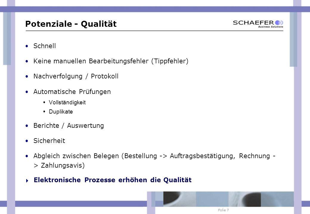 Folie 7 Potenziale - Qualität Schnell Keine manuellen Bearbeitungsfehler (Tippfehler) Nachverfolgung / Protokoll Automatische Prüfungen Vollständigkei