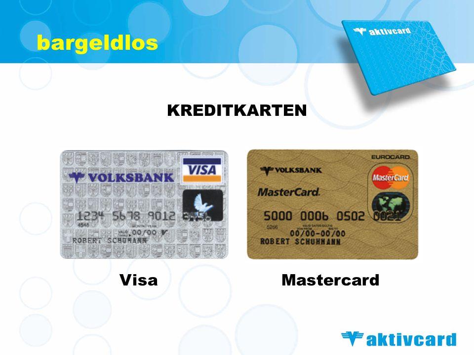 bargeldlos KREDITKARTEN VisaMastercard