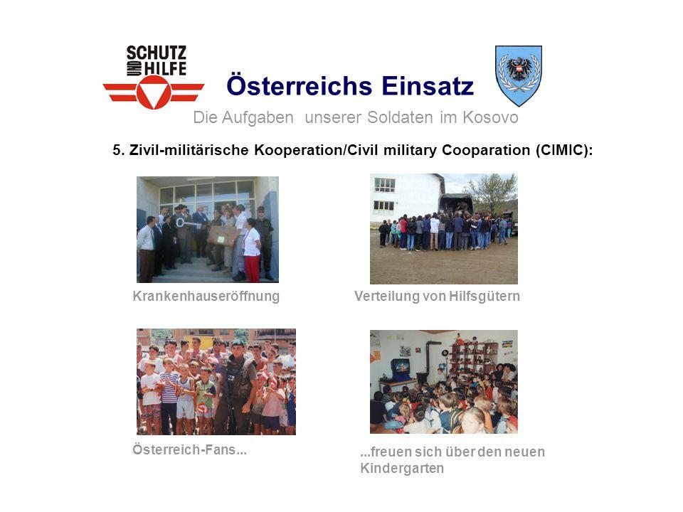 Österreichs Einsatz 5. Zivil-militärische Kooperation/Civil military Cooparation (CIMIC): Die Aufgaben unserer Soldaten im Kosovo Krankenhauseröffnung