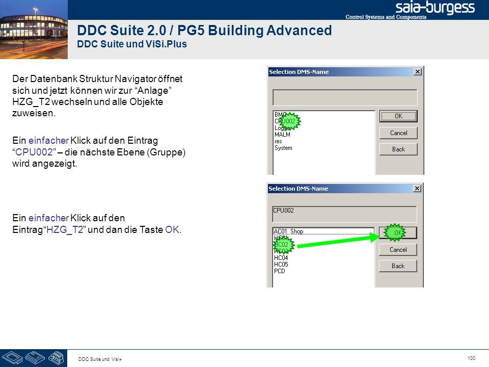100 DDC Suite und Visi+ DDC Suite 2.0 / PG5 Building Advanced DDC Suite und ViSi.Plus Der Datenbank Struktur Navigator öffnet sich und jetzt können wir zur Anlage HZG_T2 wechseln und alle Objekte zuweisen.