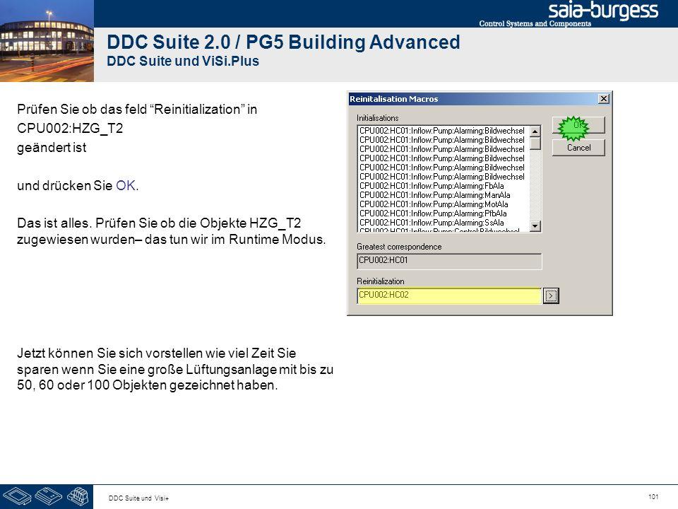 101 DDC Suite und Visi+ DDC Suite 2.0 / PG5 Building Advanced DDC Suite und ViSi.Plus Prüfen Sie ob das feld Reinitialization in CPU002:HZG_T2 geändert ist und drücken Sie OK.