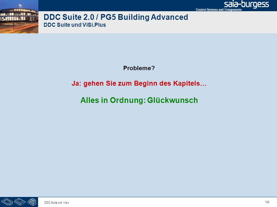 102 DDC Suite und Visi+ DDC Suite 2.0 / PG5 Building Advanced DDC Suite und ViSi.Plus Probleme? Ja: gehen Sie zum Beginn des Kapitels… Alles in Ordnun