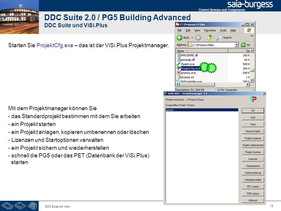 13 DDC Suite und Visi+ DDC Suite 2.0 / PG5 Building Advanced DDC Suite und ViSi.Plus Starten Sie ProjektCfg.exe – das ist der ViSi.Plus Projektmanager
