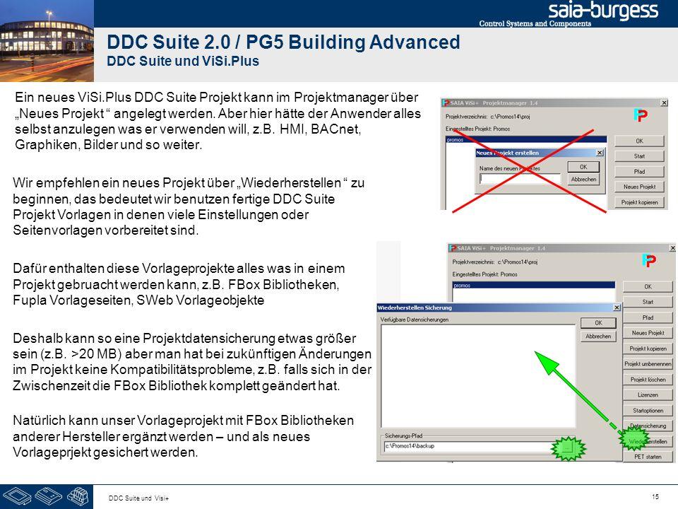15 DDC Suite und Visi+ DDC Suite 2.0 / PG5 Building Advanced DDC Suite und ViSi.Plus Ein neues ViSi.Plus DDC Suite Projekt kann im Projektmanager über