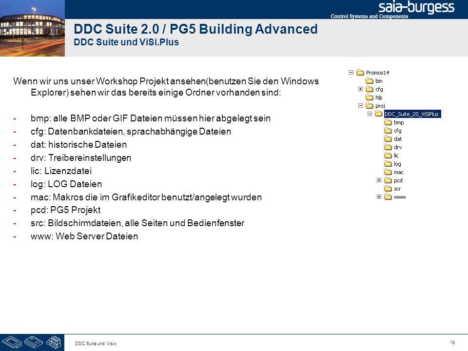18 DDC Suite und Visi+ DDC Suite 2.0 / PG5 Building Advanced DDC Suite und ViSi.Plus Wenn wir uns unser Workshop Projekt ansehen(benutzen Sie den Windows Explorer) sehen wir das bereits einige Ordner vorhanden sind: -bmp: alle BMP oder GIF Dateien müssen hier abgelegt sein -cfg: Datenbankdateien, sprachabhängige Dateien -dat: historische Dateien -drv: Treibereinstellungen -lic: Lizenzdatei -log: LOG Dateien -mac: Makros die im Grafikeditor benutzt/angelegt wurden -pcd: PG5 Projekt -src: Bildschirmdateien, alle Seiten und Bedienfenster -www: Web Server Dateien