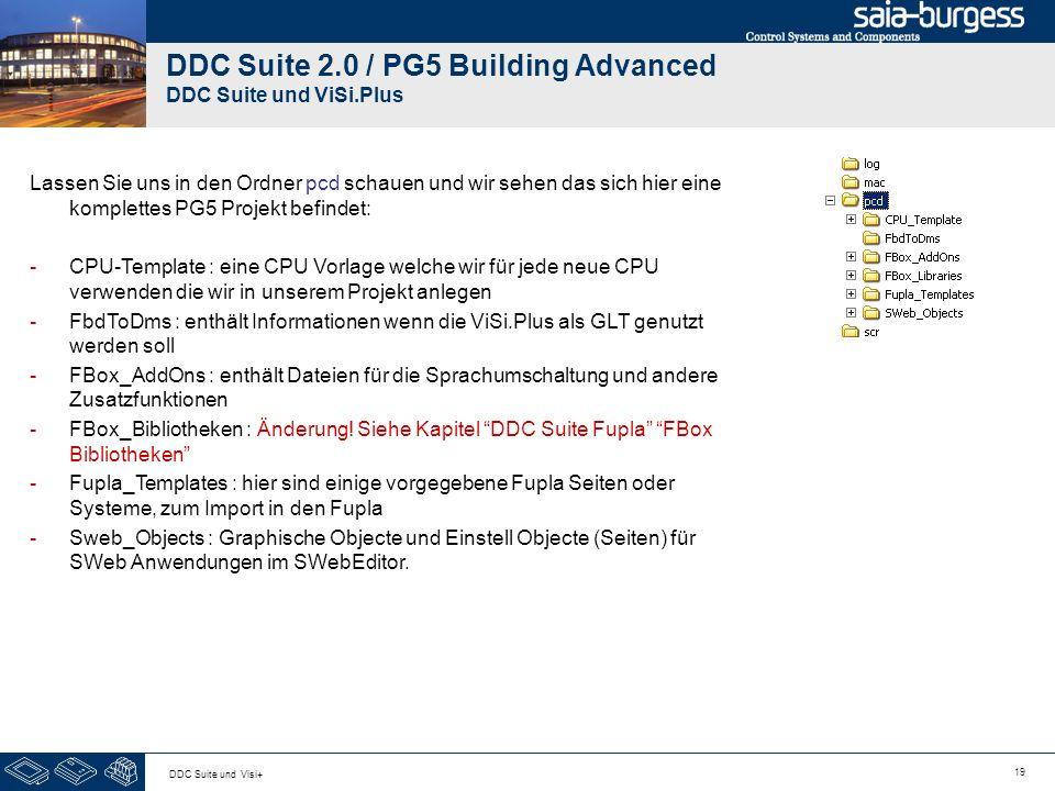 19 DDC Suite und Visi+ DDC Suite 2.0 / PG5 Building Advanced DDC Suite und ViSi.Plus Lassen Sie uns in den Ordner pcd schauen und wir sehen das sich hier eine komplettes PG5 Projekt befindet: -CPU-Template : eine CPU Vorlage welche wir für jede neue CPU verwenden die wir in unserem Projekt anlegen -FbdToDms : enthält Informationen wenn die ViSi.Plus als GLT genutzt werden soll -FBox_AddOns : enthält Dateien für die Sprachumschaltung und andere Zusatzfunktionen -FBox_Bibliotheken : Änderung.