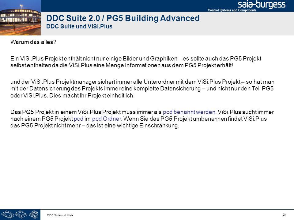 20 DDC Suite und Visi+ DDC Suite 2.0 / PG5 Building Advanced DDC Suite und ViSi.Plus Warum das alles? Ein ViSi.Plus Projekt enthält nicht nur einige B