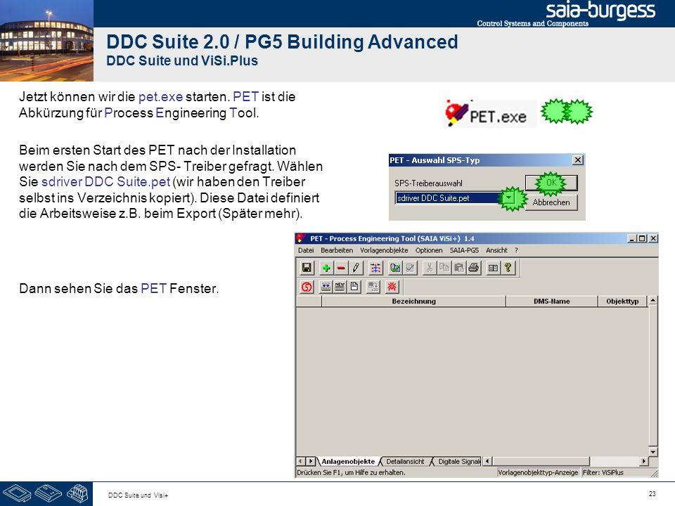 23 DDC Suite und Visi+ DDC Suite 2.0 / PG5 Building Advanced DDC Suite und ViSi.Plus Jetzt können wir die pet.exe starten. PET ist die Abkürzung für P