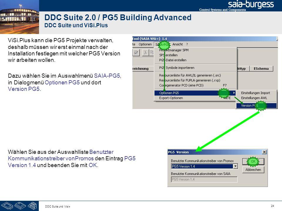 24 DDC Suite und Visi+ DDC Suite 2.0 / PG5 Building Advanced DDC Suite und ViSi.Plus ViSi.Plus kann die PG5 Projekte verwalten, deshalb müssen wir ers