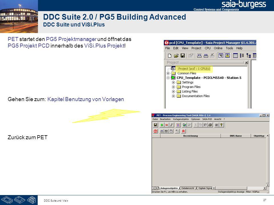 27 DDC Suite und Visi+ DDC Suite 2.0 / PG5 Building Advanced DDC Suite und ViSi.Plus PET startet den PG5 Projektmanager und öffnet das PG5 Projekt PCD