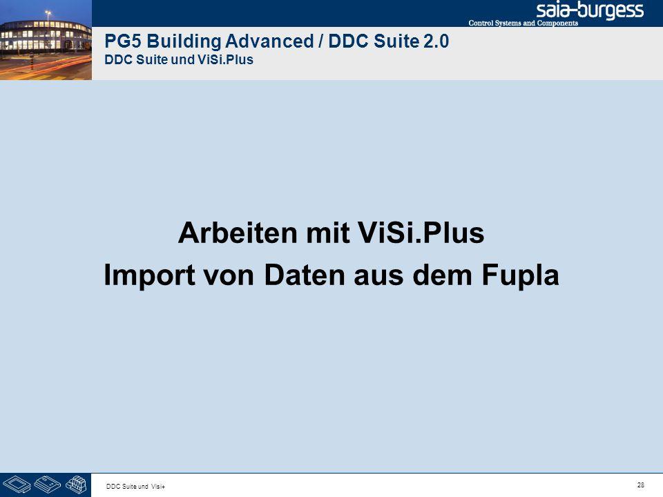 28 DDC Suite und Visi+ PG5 Building Advanced / DDC Suite 2.0 DDC Suite und ViSi.Plus Arbeiten mit ViSi.Plus Import von Daten aus dem Fupla