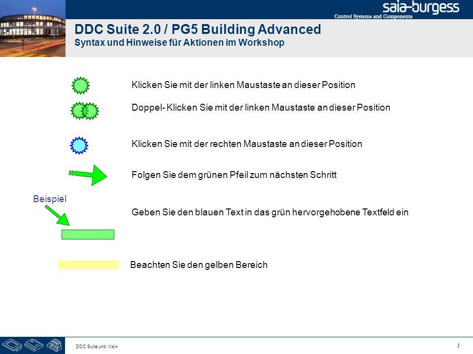 3 DDC Suite und Visi+ DDC Suite 2.0 / PG5 Building Advanced Syntax und Hinweise für Aktionen im Workshop Klicken Sie mit der linken Maustaste an dieser Position Klicken Sie mit der rechten Maustaste an dieser Position Folgen Sie dem grünen Pfeil zum nächsten Schritt Beispiel Geben Sie den blauen Text in das grün hervorgehobene Textfeld ein Doppel- Klicken Sie mit der linken Maustaste an dieser Position Beachten Sie den gelben Bereich