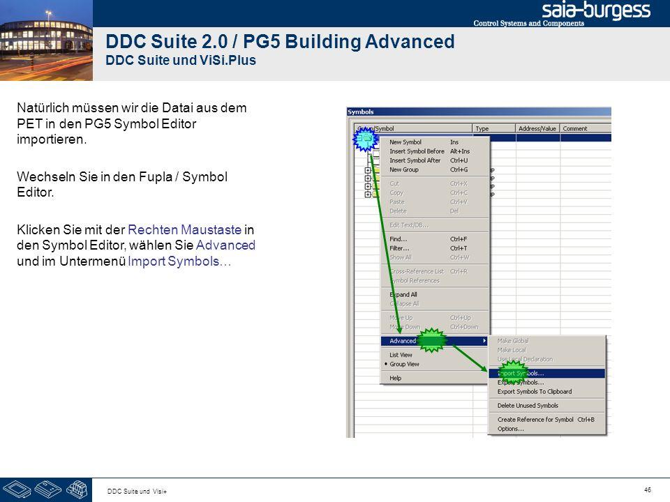 46 DDC Suite und Visi+ DDC Suite 2.0 / PG5 Building Advanced DDC Suite und ViSi.Plus Natürlich müssen wir die Datai aus dem PET in den PG5 Symbol Editor importieren.