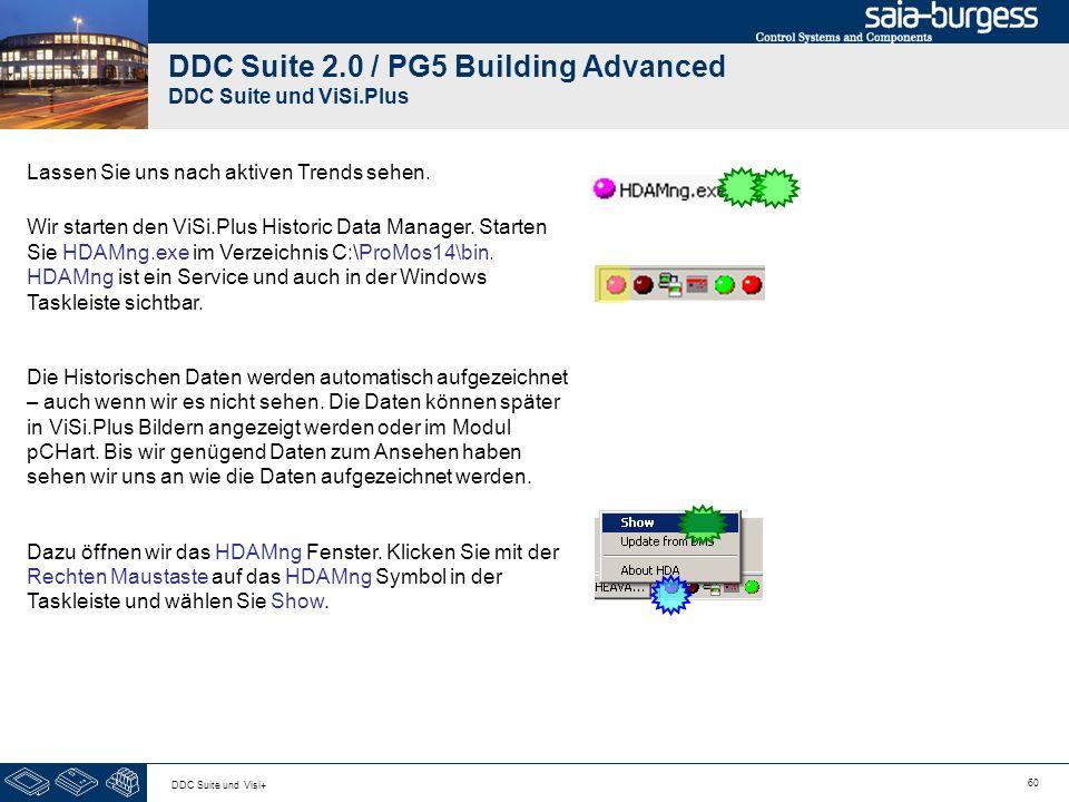 60 DDC Suite und Visi+ DDC Suite 2.0 / PG5 Building Advanced DDC Suite und ViSi.Plus Lassen Sie uns nach aktiven Trends sehen. Wir starten den ViSi.Pl