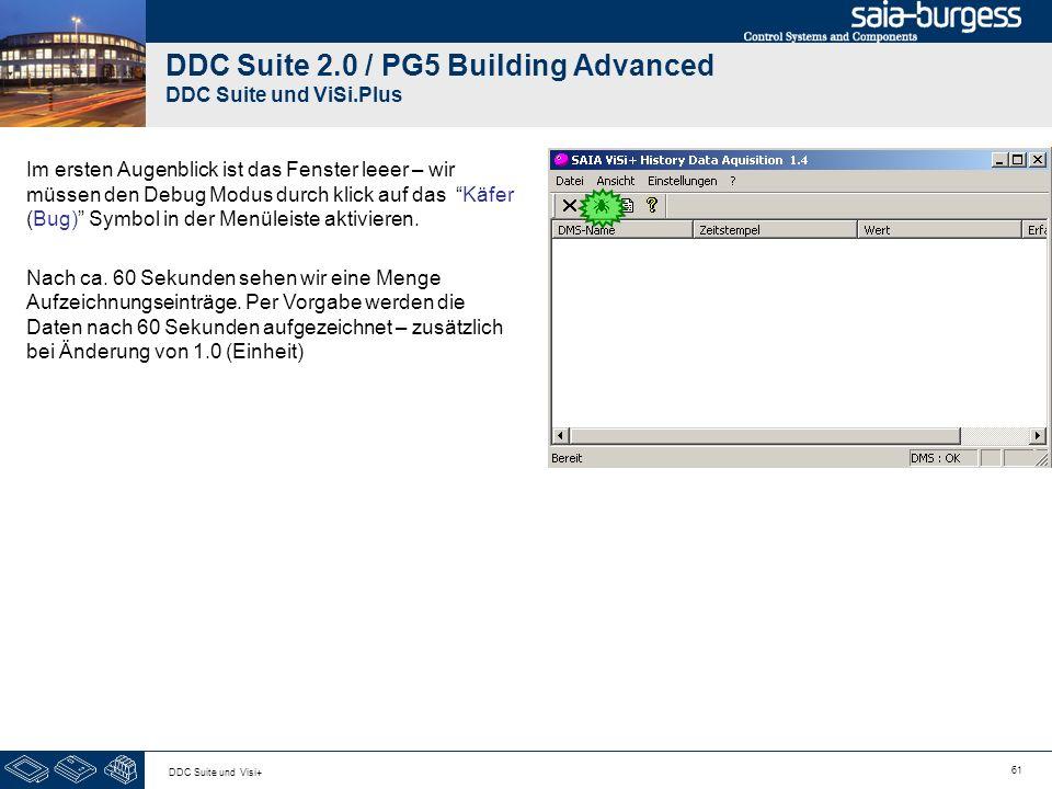 61 DDC Suite und Visi+ DDC Suite 2.0 / PG5 Building Advanced DDC Suite und ViSi.Plus Im ersten Augenblick ist das Fenster leeer – wir müssen den Debug Modus durch klick auf das Käfer (Bug) Symbol in der Menüleiste aktivieren.