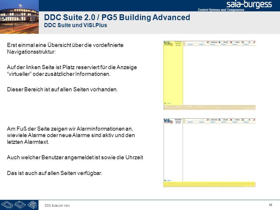 65 DDC Suite und Visi+ DDC Suite 2.0 / PG5 Building Advanced DDC Suite und ViSi.Plus Erst einmal eine Übersicht über die vordefinierte Navigationsstru