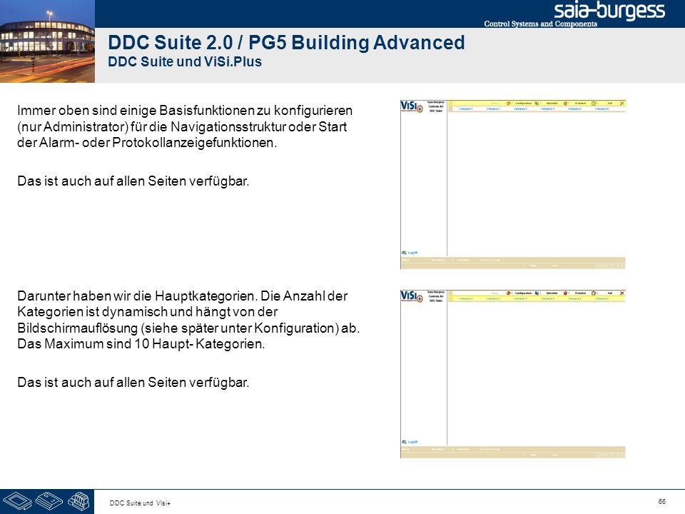 66 DDC Suite und Visi+ DDC Suite 2.0 / PG5 Building Advanced DDC Suite und ViSi.Plus Immer oben sind einige Basisfunktionen zu konfigurieren (nur Admi