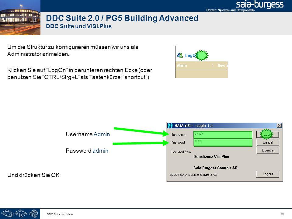 70 DDC Suite und Visi+ DDC Suite 2.0 / PG5 Building Advanced DDC Suite und ViSi.Plus Um die Struktur zu konfigurieren müssen wir uns als Administrator anmelden.