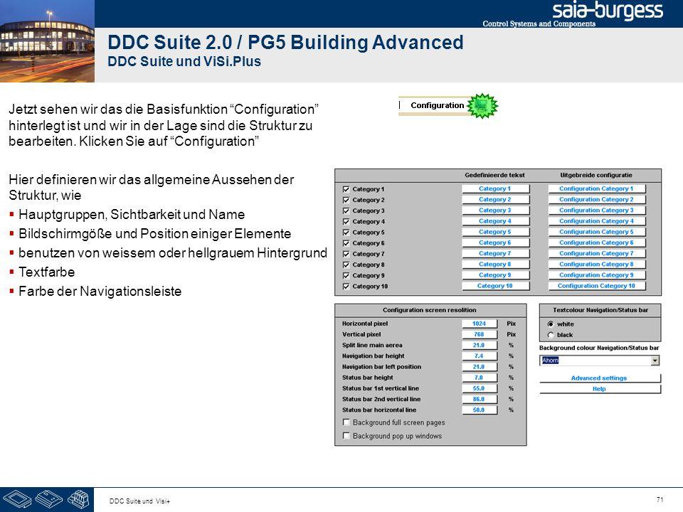 71 DDC Suite und Visi+ DDC Suite 2.0 / PG5 Building Advanced DDC Suite und ViSi.Plus Jetzt sehen wir das die Basisfunktion Configuration hinterlegt ist und wir in der Lage sind die Struktur zu bearbeiten.