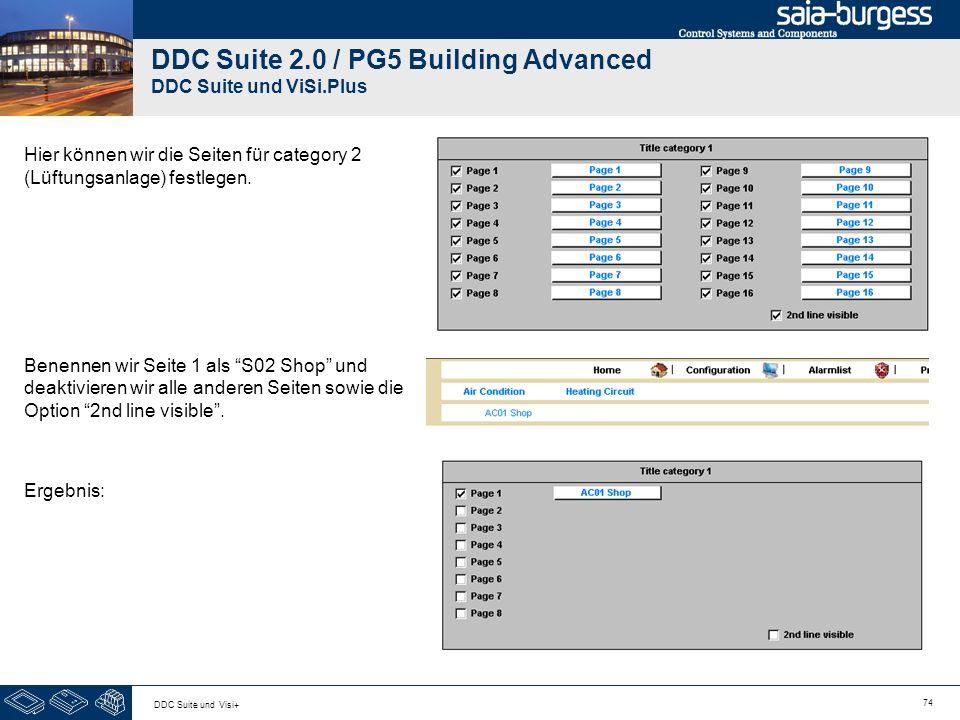 74 DDC Suite und Visi+ DDC Suite 2.0 / PG5 Building Advanced DDC Suite und ViSi.Plus Hier können wir die Seiten für category 2 (Lüftungsanlage) festle