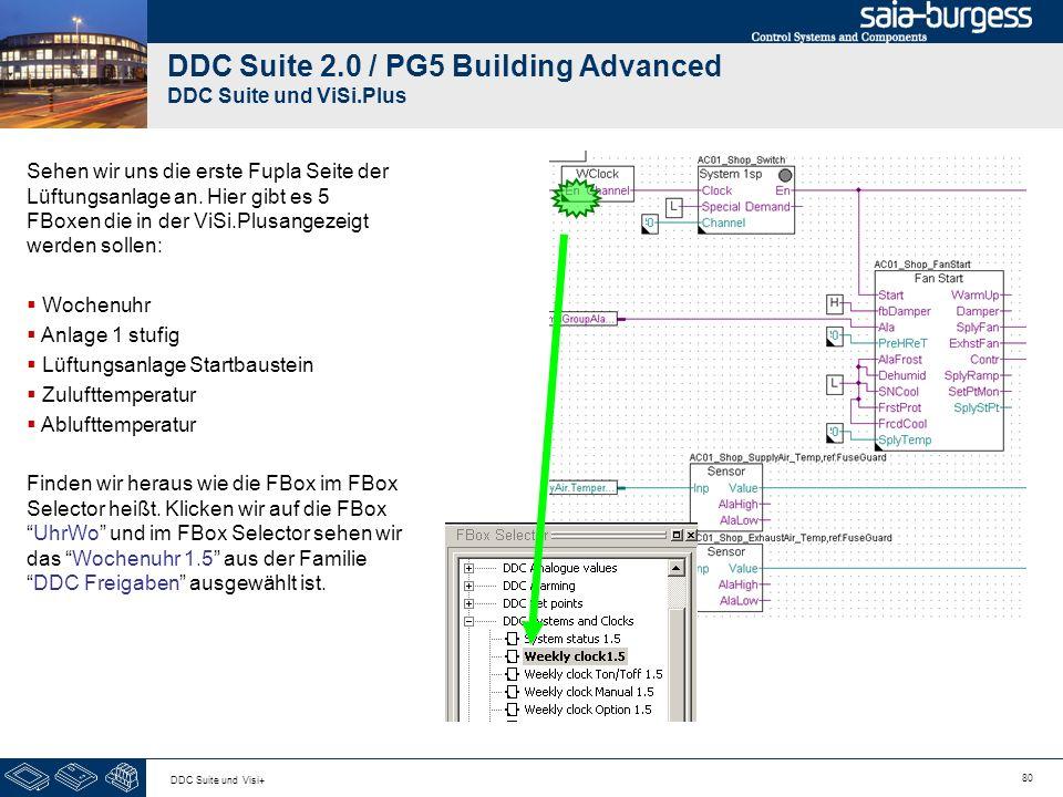 80 DDC Suite und Visi+ DDC Suite 2.0 / PG5 Building Advanced DDC Suite und ViSi.Plus Sehen wir uns die erste Fupla Seite der Lüftungsanlage an. Hier g