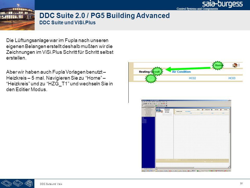 91 DDC Suite und Visi+ DDC Suite 2.0 / PG5 Building Advanced DDC Suite und ViSi.Plus Die Lüftungsanlage war im Fupla nach unseren eigenen Belangen erstellt deshalb mußten wir die Zeichnungen im ViSi.Plus Schritt für Schritt selbst erstellen.