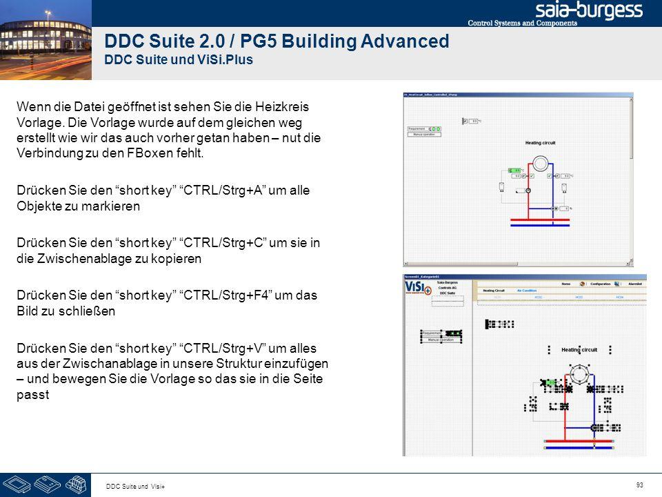 93 DDC Suite und Visi+ DDC Suite 2.0 / PG5 Building Advanced DDC Suite und ViSi.Plus Wenn die Datei geöffnet ist sehen Sie die Heizkreis Vorlage. Die