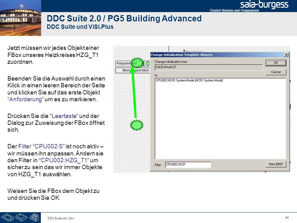 94 DDC Suite und Visi+ DDC Suite 2.0 / PG5 Building Advanced DDC Suite und ViSi.Plus Jetzt müssen wir jedes Objekt einer FBox unseres Heizkreises HZG_