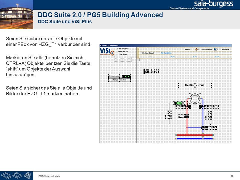 96 DDC Suite und Visi+ DDC Suite 2.0 / PG5 Building Advanced DDC Suite und ViSi.Plus Seien Sie sicher das alle Objekte mit einer FBox von HZG_T1 verbu