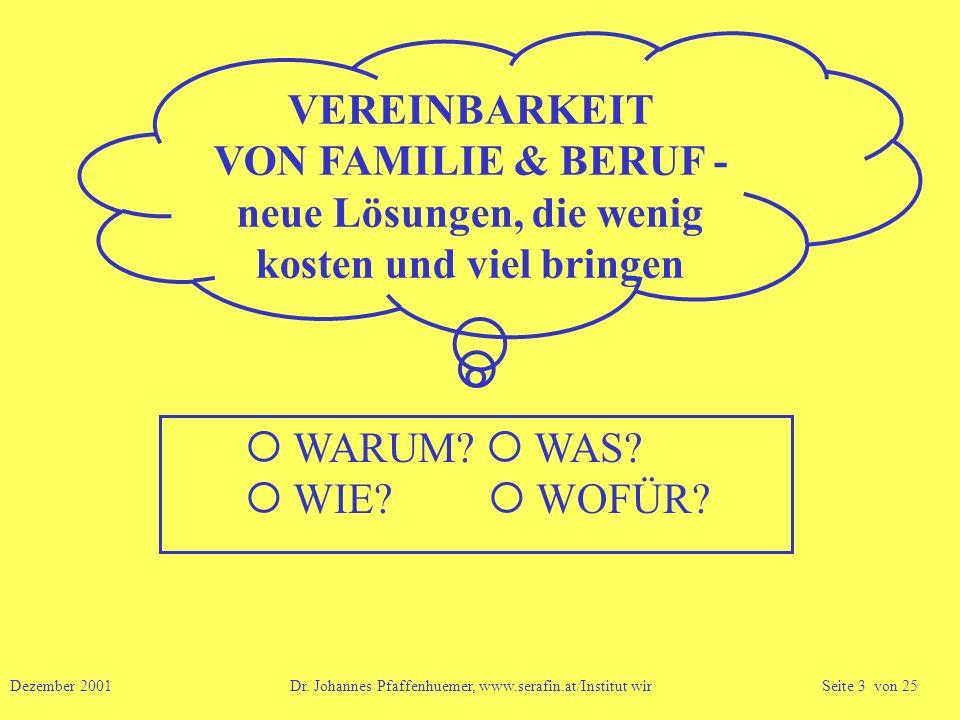 VEREINBARKEIT VON FAMILIE & BERUF - neue Lösungen, die wenig kosten und viel bringen WARUM? WAS? WIE? WOFÜR? Dezember 2001 Dr. Johannes Pfaffenhuemer,