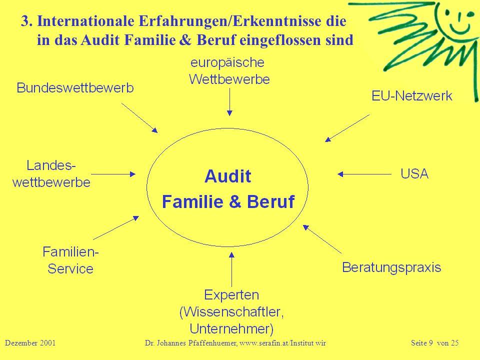 3. Internationale Erfahrungen/Erkenntnisse die in das Audit Familie & Beruf eingeflossen sind Dezember 2001 Dr. Johannes Pfaffenhuemer, www.serafin.at