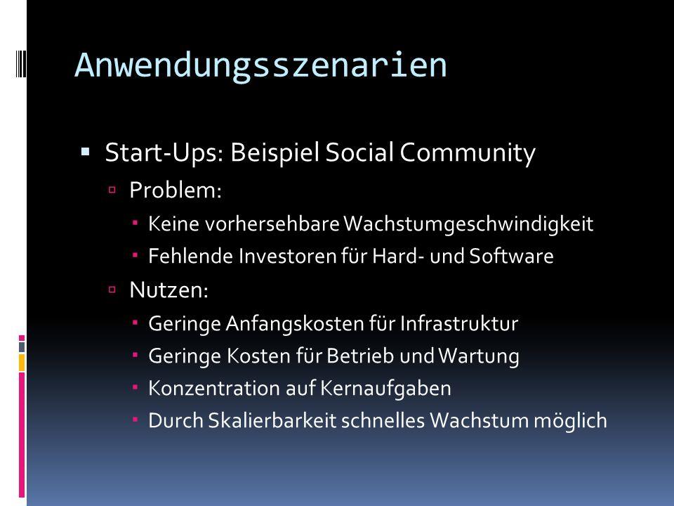 Anwendungsszenarien Start-Ups: Beispiel Social Community Problem: Keine vorhersehbare Wachstumgeschwindigkeit Fehlende Investoren für Hard- und Softwa