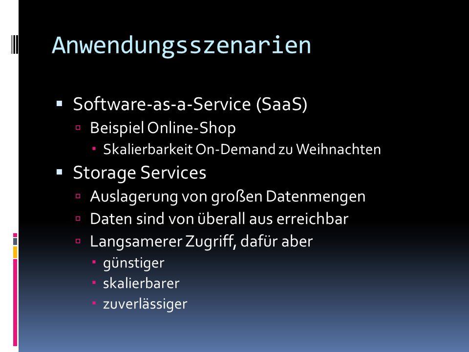 Anwendungsszenarien Software-as-a-Service (SaaS) Beispiel Online-Shop Skalierbarkeit On-Demand zu Weihnachten Storage Services Auslagerung von großen