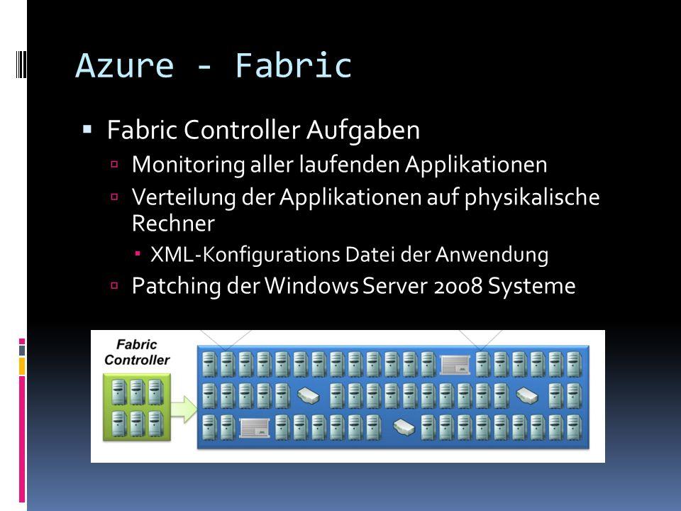 Azure - Fabric Fabric Controller Aufgaben Monitoring aller laufenden Applikationen Verteilung der Applikationen auf physikalische Rechner XML-Konfigur