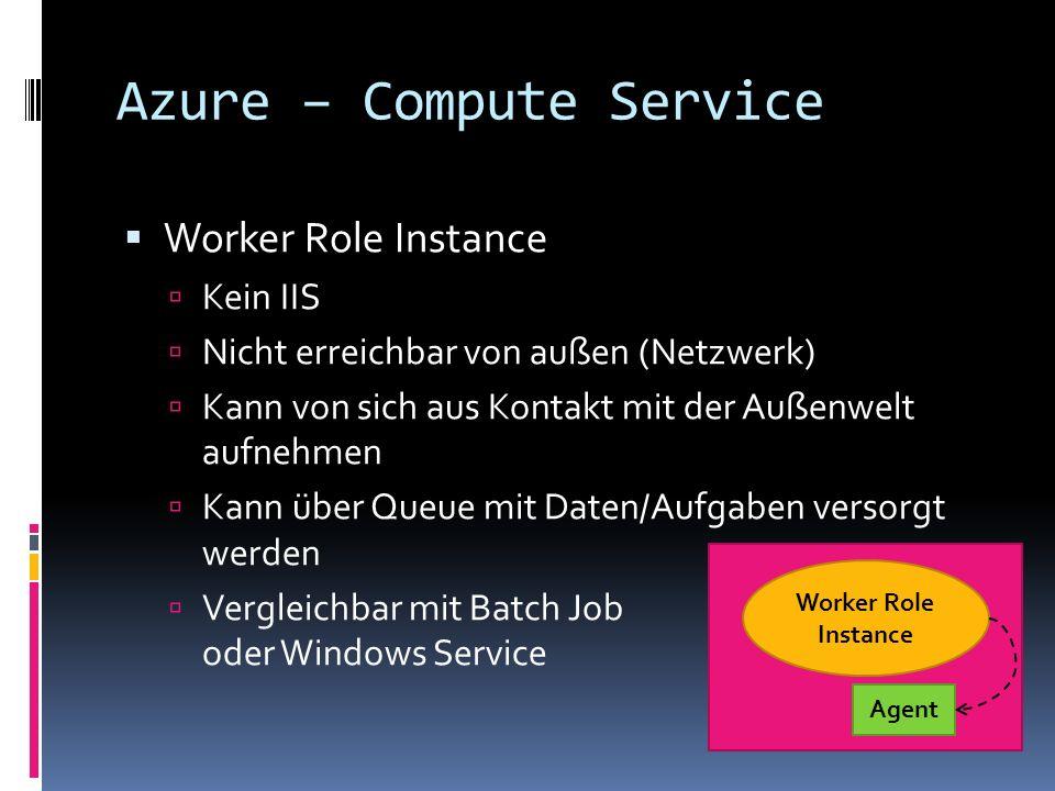 Azure – Compute Service Worker Role Instance Kein IIS Nicht erreichbar von außen (Netzwerk) Kann von sich aus Kontakt mit der Außenwelt aufnehmen Kann